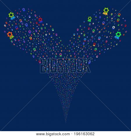 Award salute stream. Vector illustration style is flat bright multicolored iconic award symbols on a blue background. Object fountain organized from random pictograms.