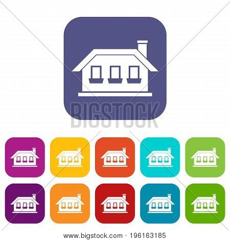 One-storey house with three windows icons set vector illustration in flat style in colors red, blue, green, and other