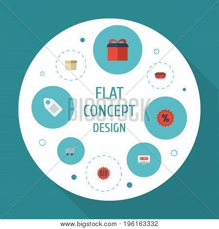 Flat Icons Case, Payment, Shopping And Other Vector Elements