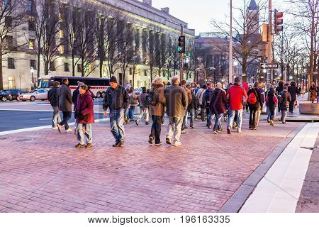 Washington Dc, Usa - December 29, 2016: People Crossing Street On Pennsylvania Avenue In Downtown At