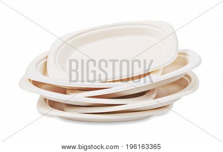 Heap of Natural plant fiber food plate isolated on white background paper plate. Save clipping path.
