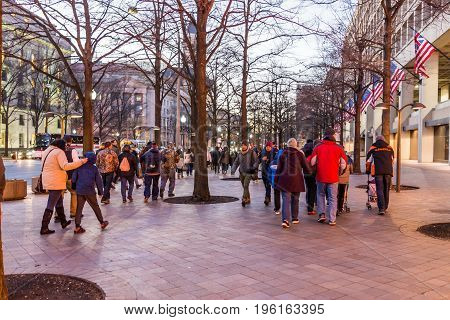 Washington Dc, Usa - December 29, 2016: People Walking On Tiled Cobblestone Floor On Pennsylvania Av