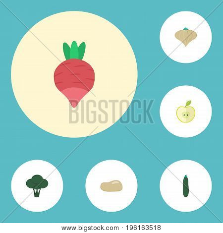 Flat Icons Jonagold, Turnip, Praties And Other Vector Elements