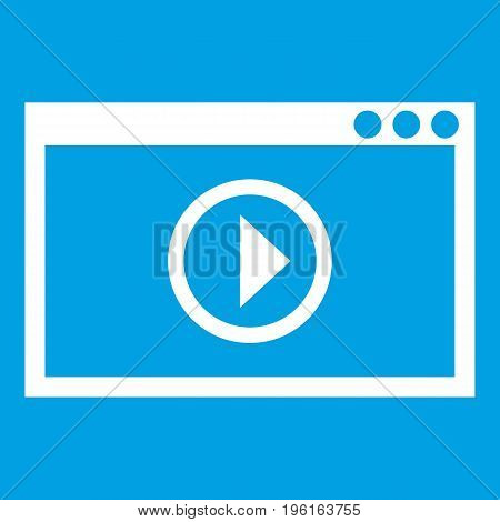 Program for video playback icon white isolated on blue background vector illustration