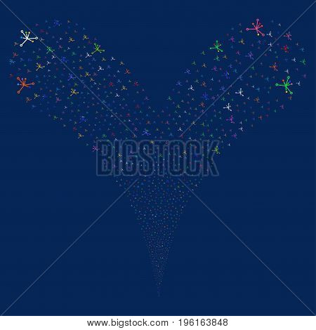 Big Bang explosive stream. Vector illustration style is flat bright multicolored iconic big bang symbols on a blue background. Object fountain organized from random icons.