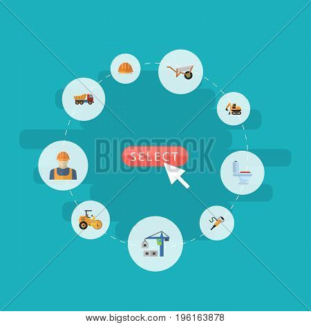 Flat Icons Steamroller, Tractor, Hoisting Machine And Other Vector Elements