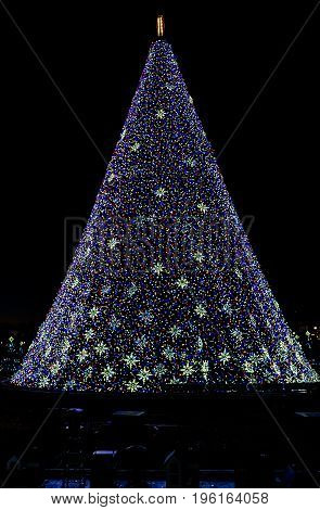 Washington Dc, Usa - December 29, 2016: National Mall Christmas Tree During Sunset Illuminated