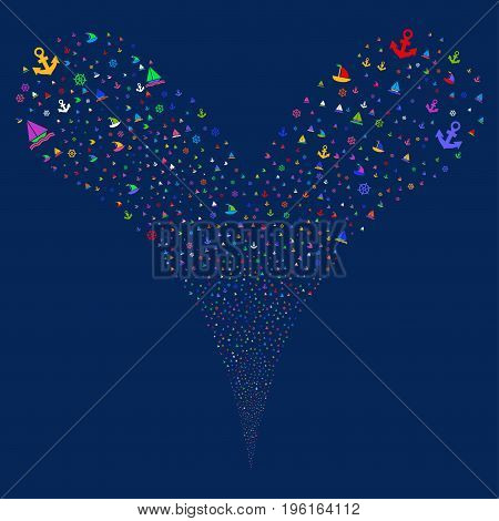 Boat Sailing fireworks stream. Vector illustration style is flat bright multicolored iconic boat sailing symbols on a blue background. Object fountain organized from random design elements.