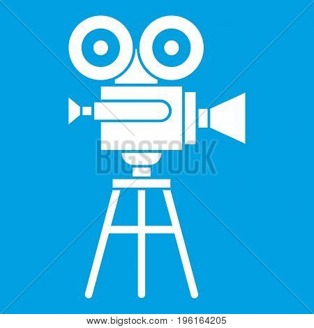 Retro film projector icon white isolated on blue background vector illustration