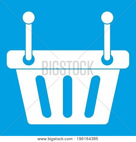 Shopping cart icon white isolated on blue background vector illustration
