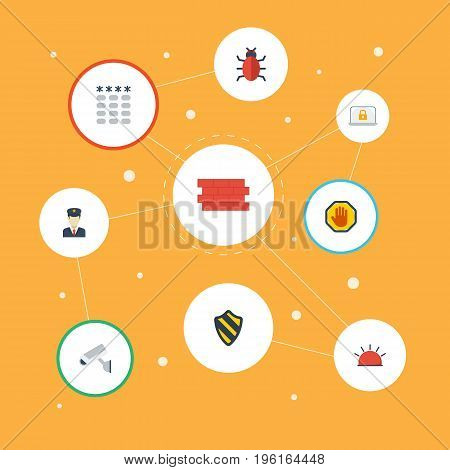 Flat Icons Lock, Forbidden, Brick Wall And Other Vector Elements