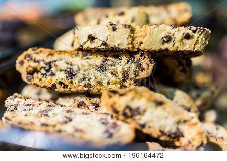Macro Closeup Of Chocolate Chip Biscotti Cookies