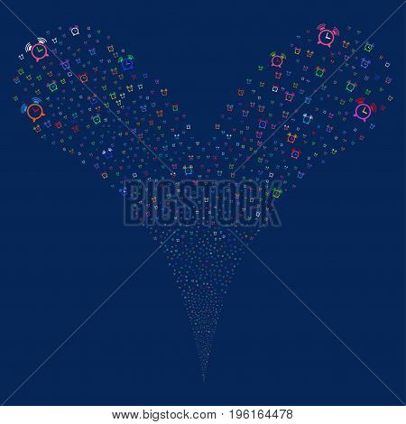 Buzzer source stream. Vector illustration style is flat bright multicolored iconic buzzer symbols on a blue background. Object fountain constructed from random pictograms.