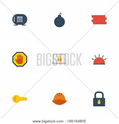 Flat Icons Safe, Clue, Siren And Other Vector Elements