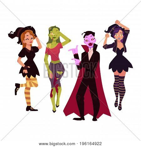 People in Halloween party costumes - witch, zombie, vampire, dracula, cartoon vector illustration isolated on white background. Friends dressed for Halloween - witch, zombie, dracula
