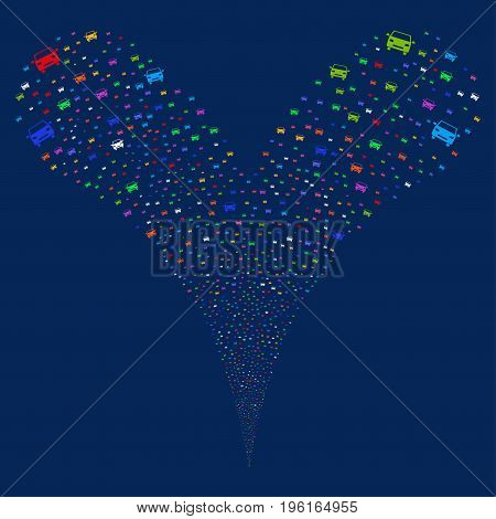 Car fireworks stream. Vector illustration style is flat bright multicolored iconic car symbols on a blue background. Object fountain organized from random pictographs.
