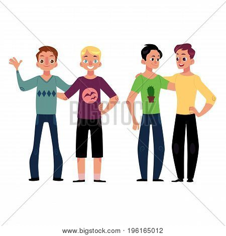 Male friendship concept two couple of boys, men, best friends hugging each other, cartoon vector illustration isolated on white background. Boys, men, friends standing and hugging each other