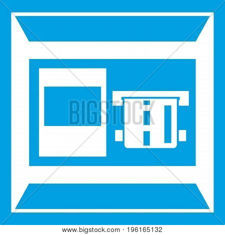 ATM icon white isolated on blue background vector illustration