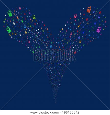 Cell Phone explosive stream. Vector illustration style is flat bright multicolored iconic cell phone symbols on a blue background. Object fountain created from random icons.
