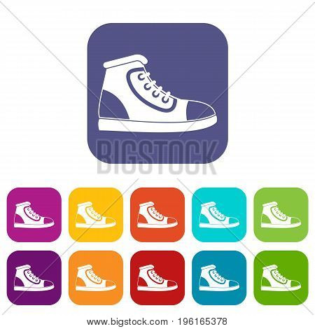 Athletic shoe icons set vector illustration in flat style in colors red, blue, green, and other