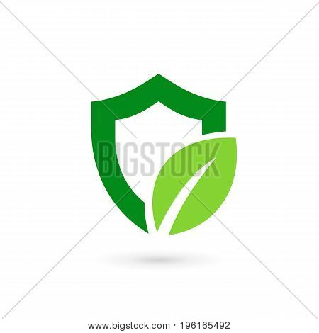 Eco Leaves Shield Logo Icon Design Template Elements