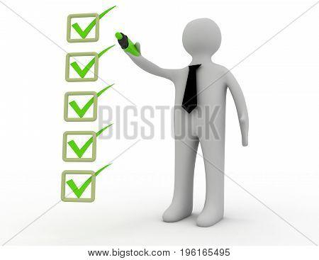 3d man and checklist . 3d rendered  illustration