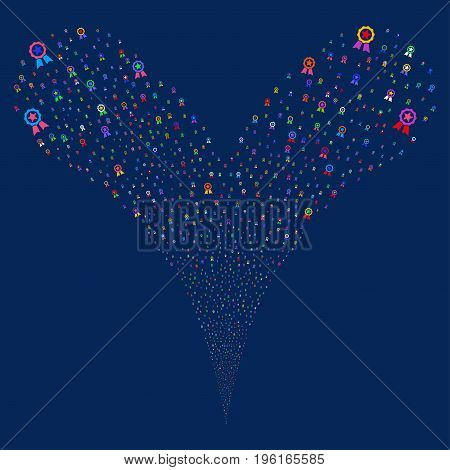 Certificate Seal fireworks stream. Vector illustration style is flat bright multicolored iconic certificate seal symbols on a blue background. Object fountain constructed from random design elements.