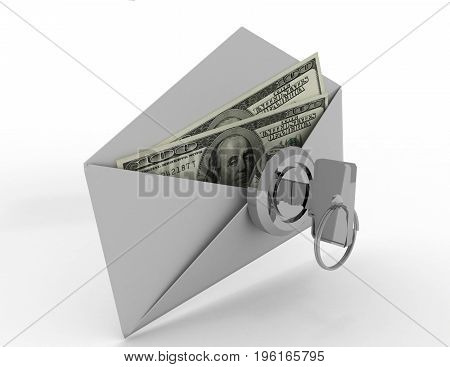 Money in envelope on white background . 3d rendered  illustration