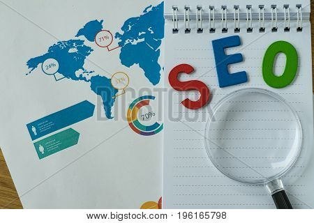 SEO concept as colorful alphabet abbreviation SEO on magnification glass on printed analysis chart and graph.