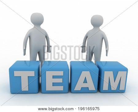team concept . cubes  . 3d rendered  illustration