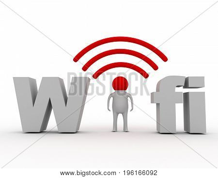wifi concept man and wird fifi . 3d rendered illustration