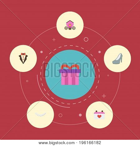 Flat Icons Bridegroom Dress, Present, Jewelry And Other Vector Elements