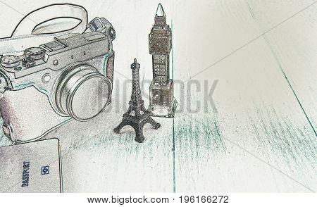Concept Image : Camera, Eiffel Tower model, Big Ben model Passport, illustration with copy space. Travel concept, London travel, Paris Travel. Image manipulated by PS - Find Edge -  filter effect.