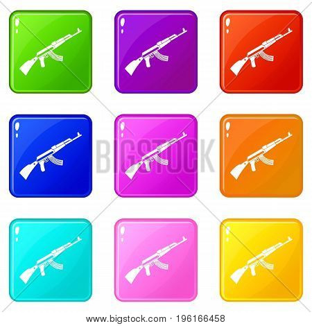 Kalashnikov machine icons of 9 color set isolated vector illustration