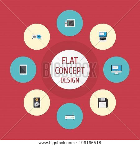 Flat Icons Slot Machine, Presentation, Display And Other Vector Elements