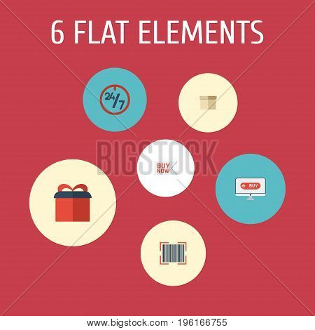 Flat Icons Present, Support, Case And Other Vector Elements