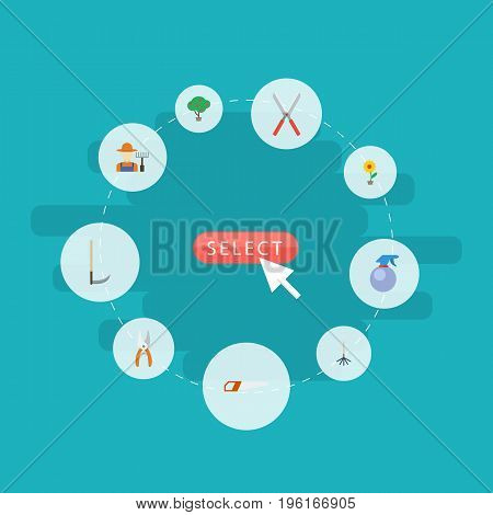 Flat Icons Flowerpot, Scissors, Rake And Other Vector Elements