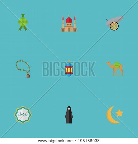 Flat Icons Malay, Bead, Minaret And Other Vector Elements