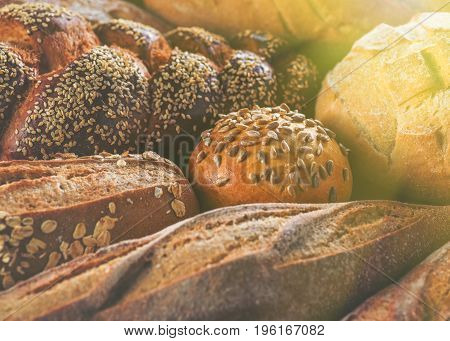 Arrangement Of Different Breads At The Bakery.