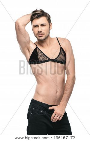 Young Handsome Homosexual Man Posing In Womens Bra, Isolated On White