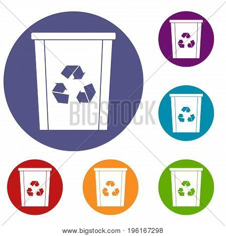 Trash bin with recycle symbol icons set in flat circle red, blue and green color for web