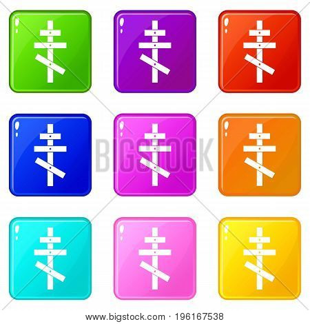 Orthodox cross icons of 9 color set isolated vector illustration