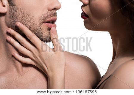 Cropped Image Of Beautiful Seductive Couple Embracing, Isolated On White