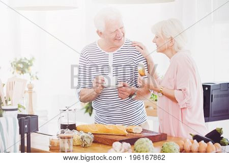 Senior Couple Eating Breakfast