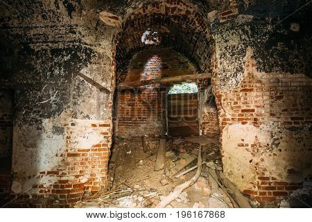 Dungeon under the old abandoned red brick fortress or temple