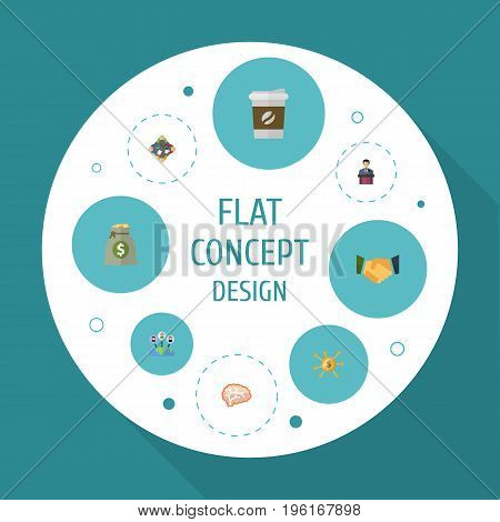 Flat Icons Financing, Income, Businessman And Other Vector Elements