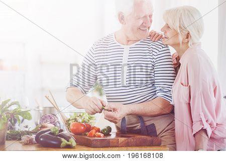 Senior Man Making Salad