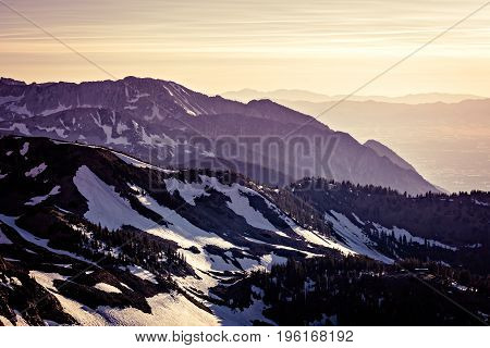 Dusk in in the Mountains at Snowbird Ski and Summer Resort Little Cottonwood Canyon Utah.