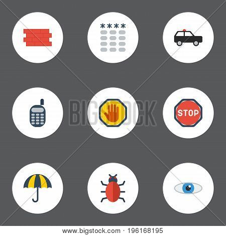 Flat Icons Brick Wall, Road Sign, Parasol And Other Vector Elements