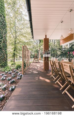 Summer Patio Surrounded By Forest